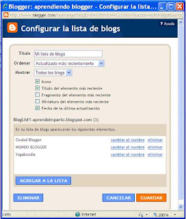 configurar widget lista de blogs