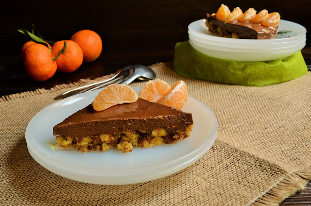 Tarta de chocolate, naranja y mandarina