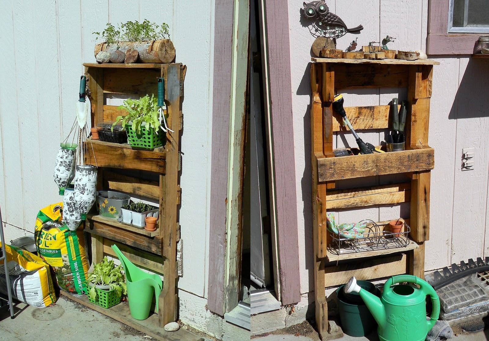 Upcycled Pallet Gardening Shelves   Back Yard
