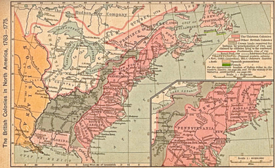 Delaware colonial map of British Colonies 1763.