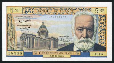 france currency 5 nf francs banknote of 1959 victor hugo coins and banknotes. Black Bedroom Furniture Sets. Home Design Ideas