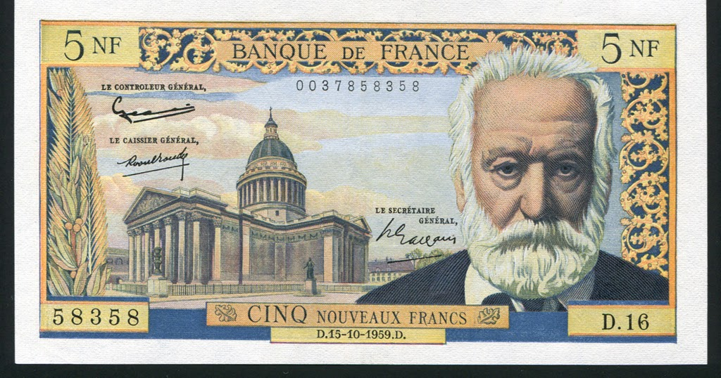 France currency 5 nf francs banknote of 1959 victor hugo for France francs