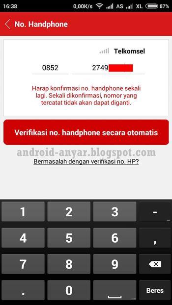 Verifikasi no. handphone secara otomatis di Cashtree