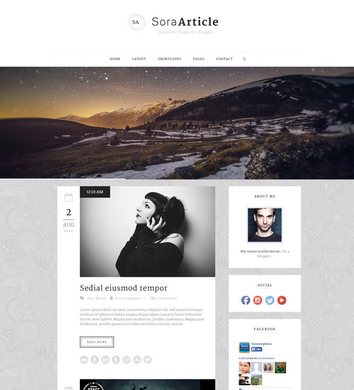 Sora Article - Best Personal Free Blogger Templates