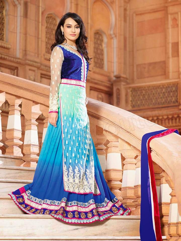BLUE SEMI GEORGETTE ANARKALI