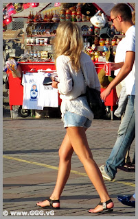 Girl in jean shorts