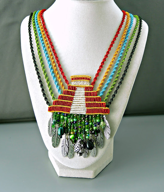 Maya pyramid necklace in macrame by Sherri Stokey of Knot Just Macrame.