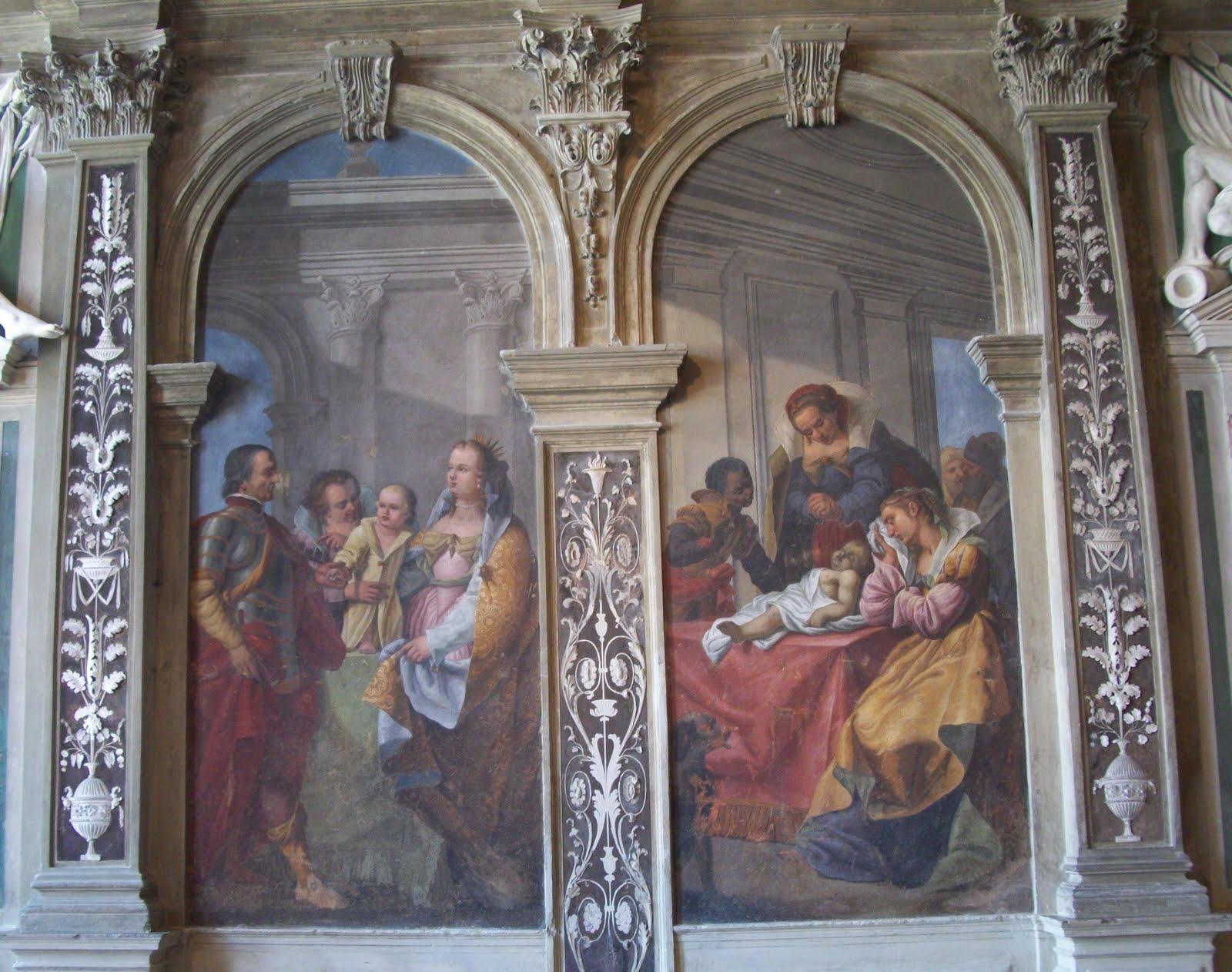 Die Wände Des Mittleren Saals (Portego) Des 1. Piano Nobile Sind Komplett  Mit Darstellungen Aus Dem Leben Caterina Cornaros Gestaltet