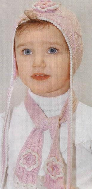 Вязание спицами шапочки и шарфика 311