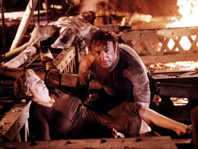 Gene Hackman helping Shelley Winters in The Poseidon Adventure