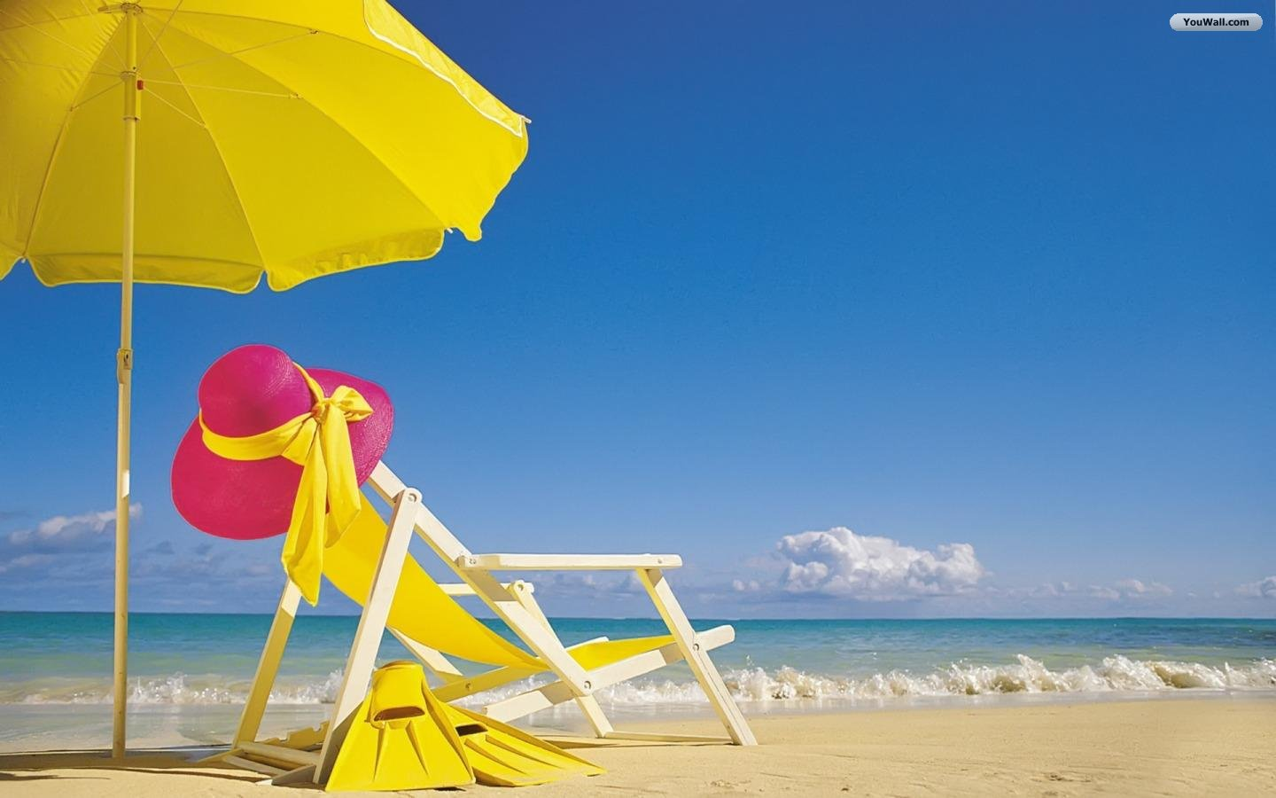 Beach Chair And Umbrella Wallpaper