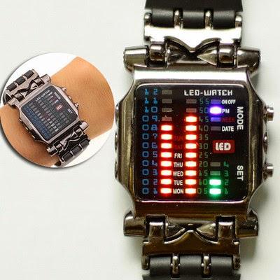 jam tangan unik sport gaul led watch tokyo flash sirine shark