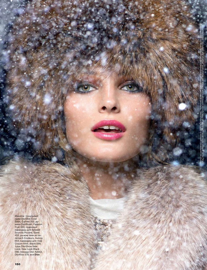 A fashion photo shoot titled Winter Wonderland, photographer Raymond Meier, stylist Anya Ziourova, starring Edita Vilkeviciute for Allure Russia