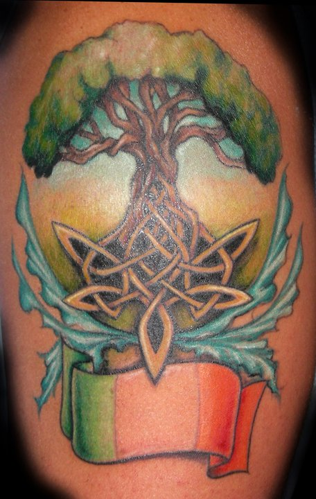 Tattoo; Color, Tree of Life, Celtic Knot