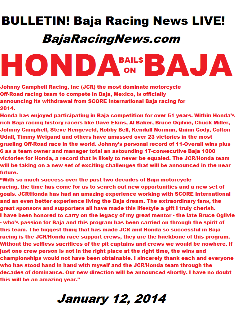 On BAJA! Baja Racing News LIVE! JCR Racing Announces Baja Departure
