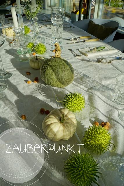 BlueKuri, Kürbis, weiss, grün, Herbst, Tischdeko, Tablesetting