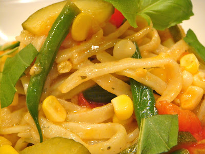 Summer squash and basil linguine with summer veggies