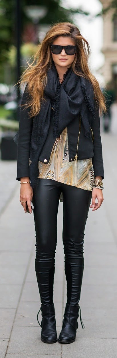 Fall Outfits with Leather Pant