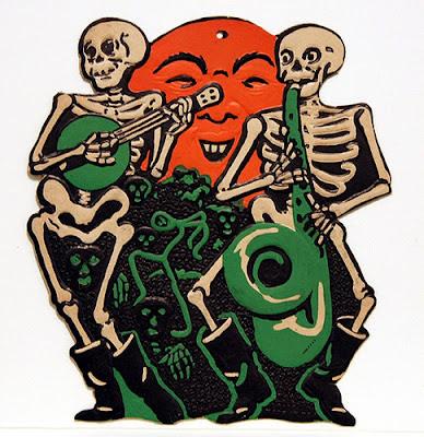 Old musical Halloween skeleton band playing the collection of vintage jazz tunes on Bindlegrim radio