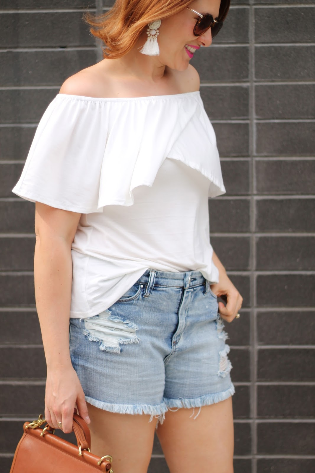 distressed, denim, off, the shoulder, top, coach, willis, cutoffs