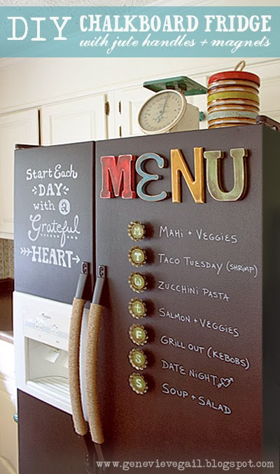 DIY Chalkboard Fridge from Genevieve Gail - 8 DIY Menu Planner Ideas