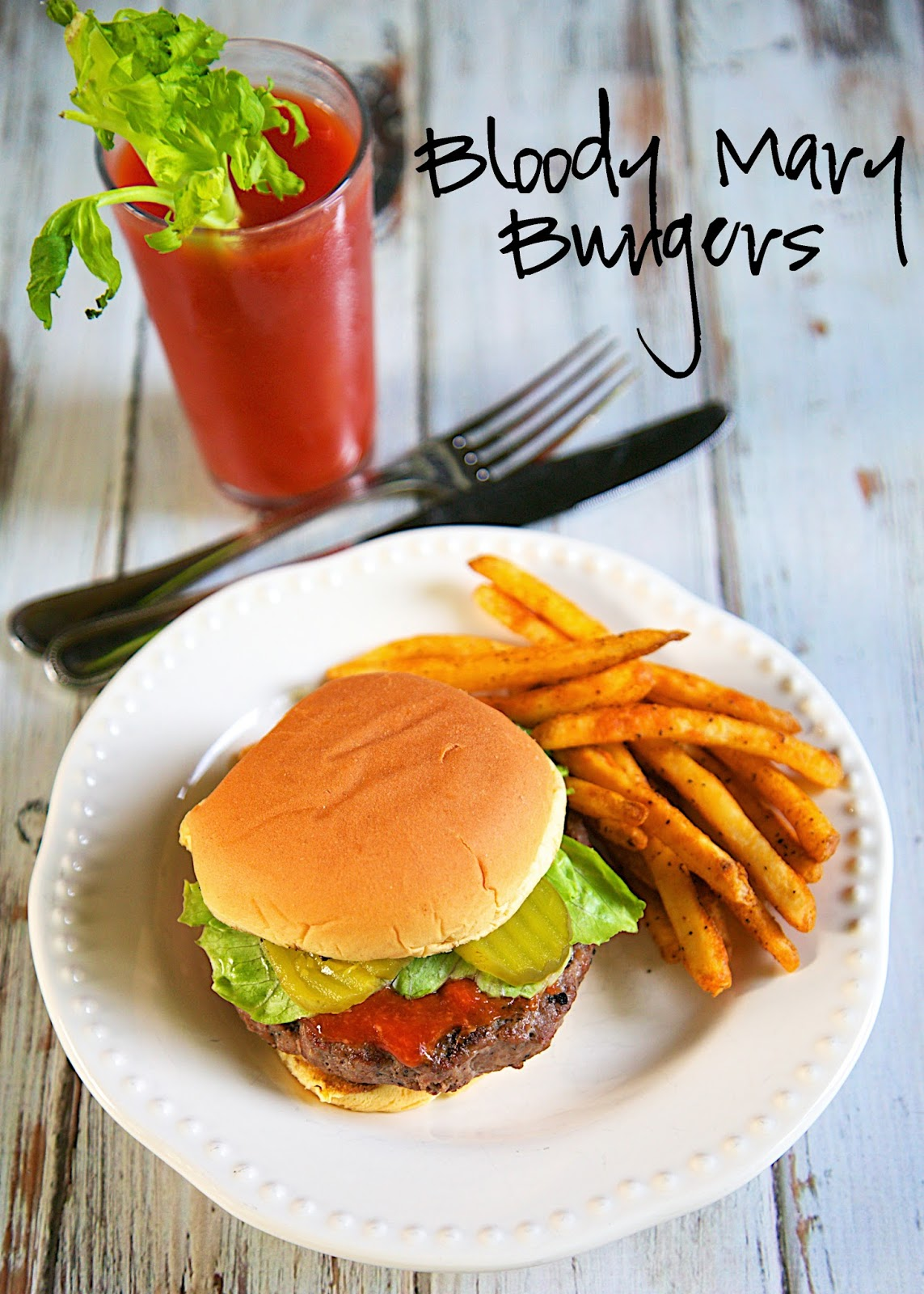 Bloody Mary Burgers Recipe - hamburger meat is seasoned with Worcestershire, celery salt, garlic powder, salt and pepper. The burgers are grilled or cooked in the cast iron skillet and then topped with a quick homemade horseradish ketchup. All the flavors of a Bloody Mary in a burger! SOOO good!