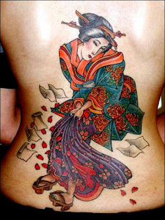 Full Color Geisha Girl Tattoo on Lower back