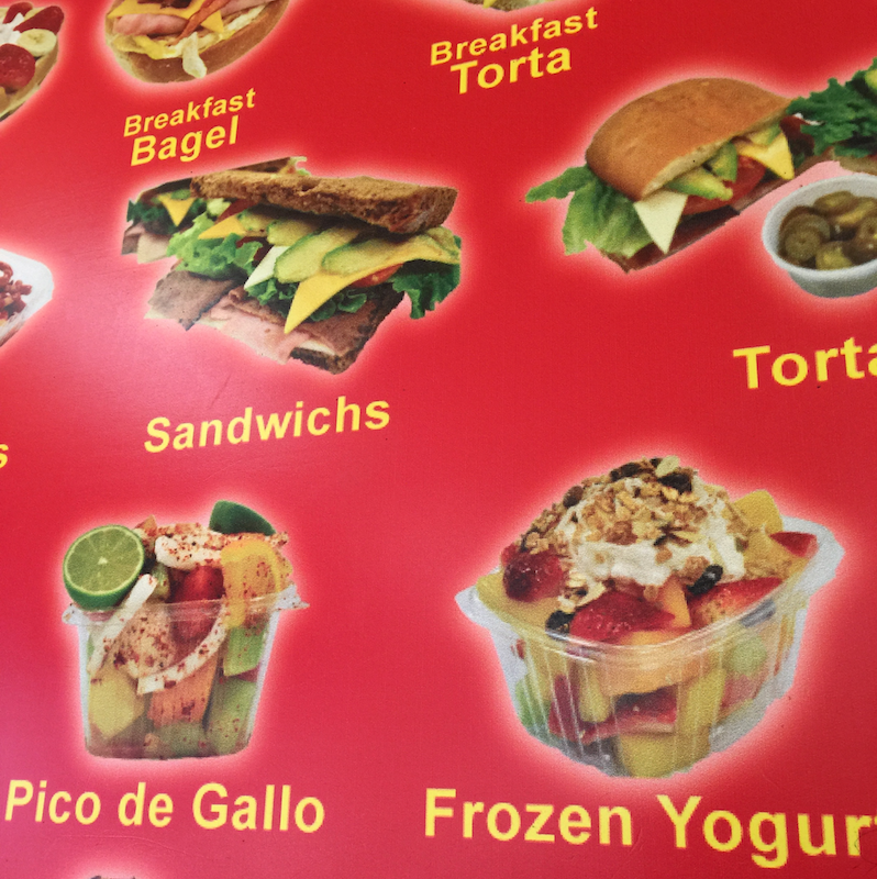 Part of the wall menu at Teresita's Fruiteria in San Diego