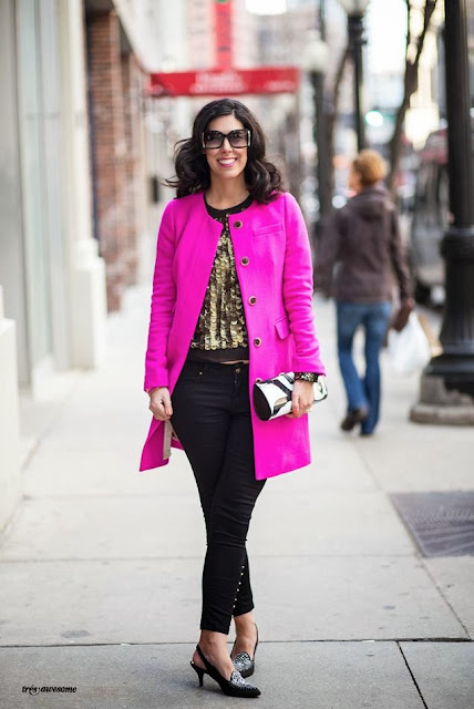 Jessica Moazami (aka Fashion Junkie) shot by Tres Awesome (Emma Arnold) in HOT PINK  J.Crew coat