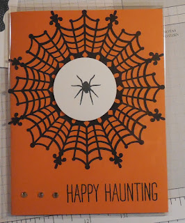 "Halloween card made with Stampin'UP!'s Spider Web Doilies and ""All Year Cheer"" stamp set"