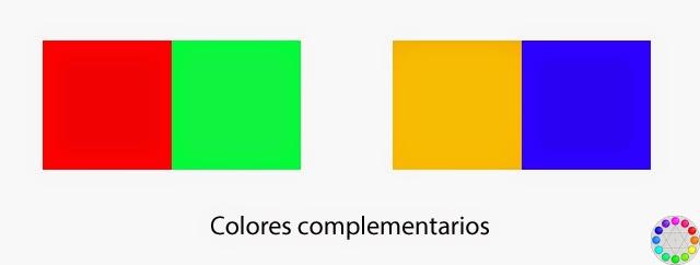 Colores complementarios: Rojo - Verde, Amarillo - Azul.