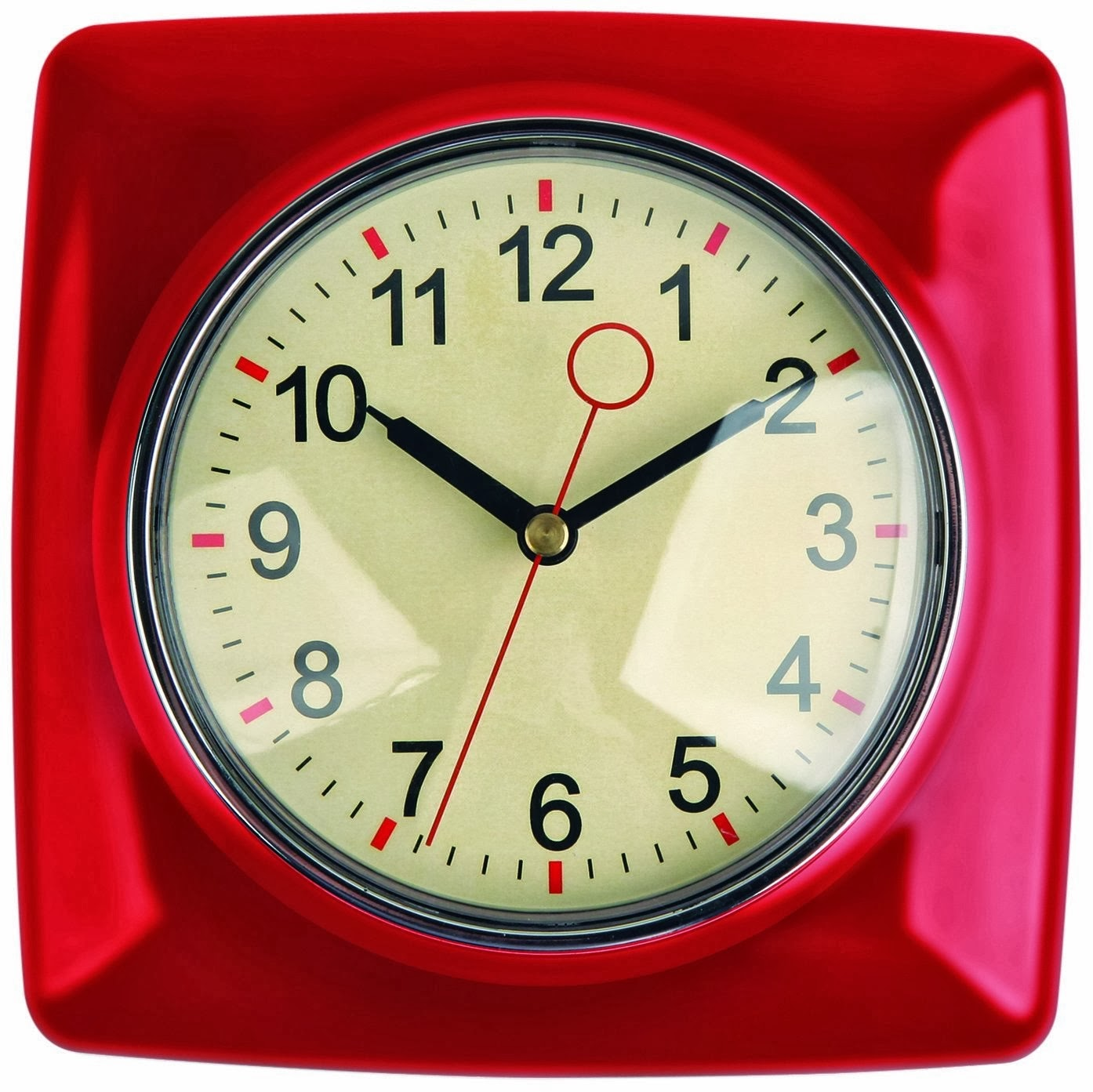 Retro Kitchen Wall Clock, Red And Mint Green