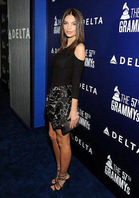 Emily Ratajkowski flashes her bra at Delta Air Lines Grammy 2015 Kick-Off Party