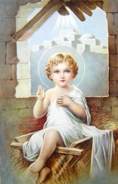 postal religiosa antigua niño jesus