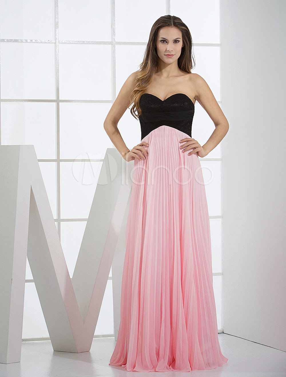 China Wholesale Dresses - Pink Chiffon Sweetheart Floor Length Ladies Special Occasion Dress