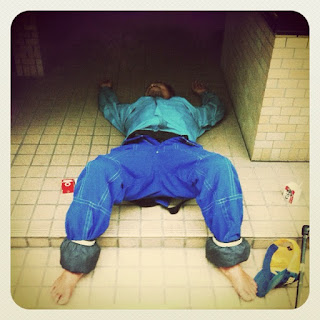 Sleeping hobo in Japan