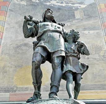 スイス建国 (独立) の父「ウイルヘルム=テル」とその息子