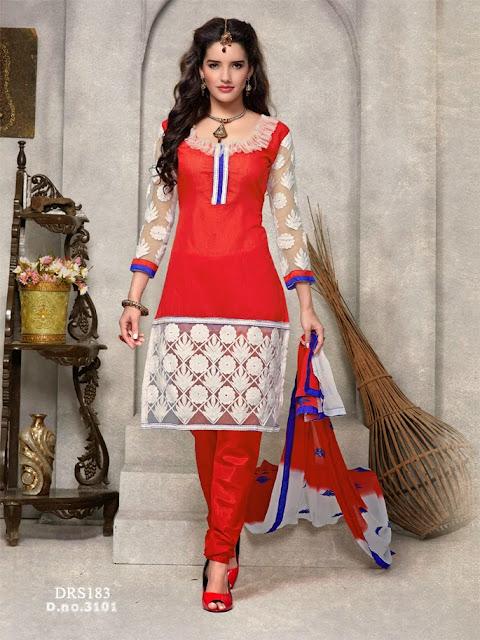New Designer Cotton Churidar Dress Material
