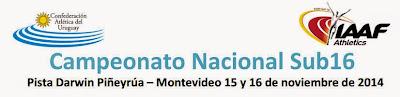 Pista. Campeonato nacional sub 16 (Montevideo, 15y16/nov/2014)