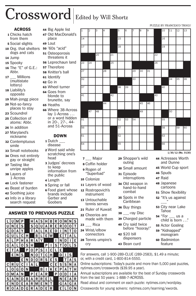It's just an image of Transformative Printable New York Times Crossword