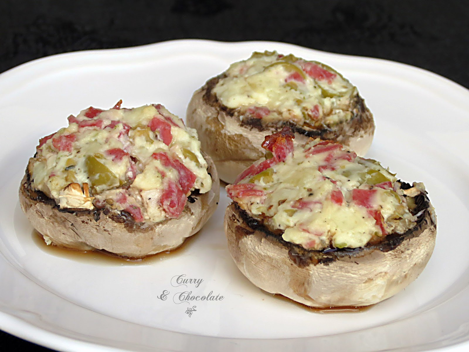 Stuffed mushrooms with cheese and pepperoni