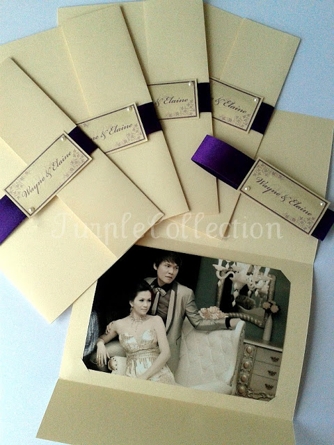 Wayne & Elaine's Wedding Photo Cover, slide off ribbon card, ivory and dark purple, ivory, dark purple, wedding card