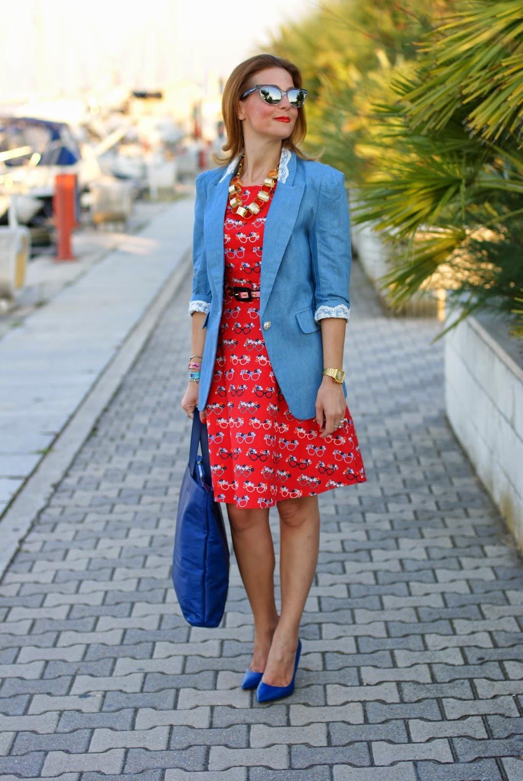Dsquared2 cat eye mirror sunglasses, yumi glasses print dress, Sergio Levantesi shoes, Fashion and Cookies, fashion blogger