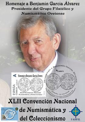 Tarjeta con sello personalizado homenaje Benjamín Garcia en la XLII Convención Nacional de Numismática y Coleccionismo Oviedo 2016