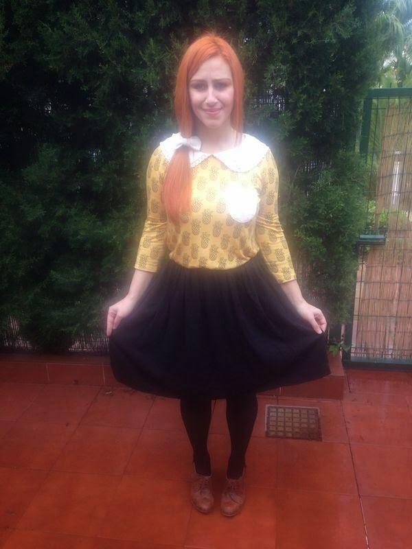 vintage retro red hair pelirroja pineapple piñas fashion moda look style naif autumn otoño color colores