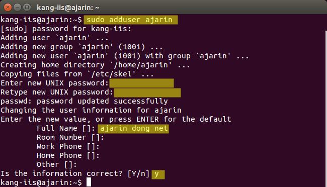 Perintah Linux - Fungsi adduser / useradd