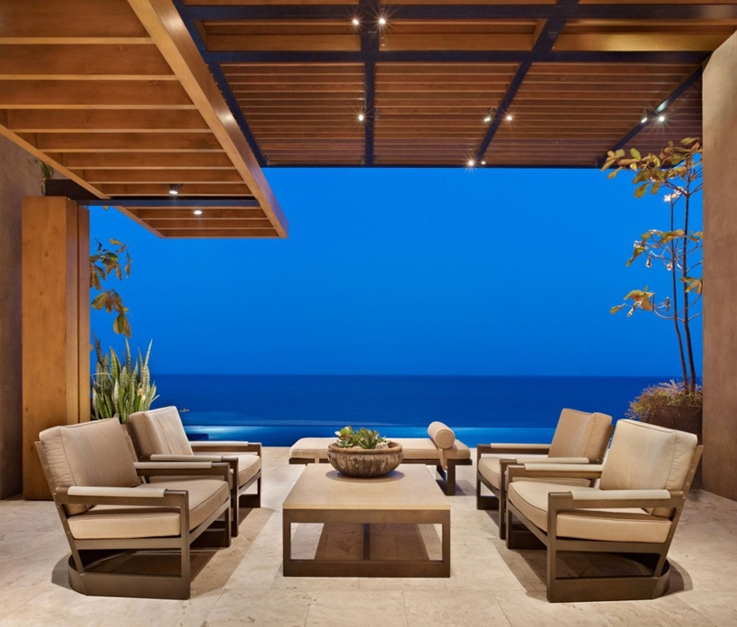 Ocean view from the living room in Gorgeous modern stone house on the beach