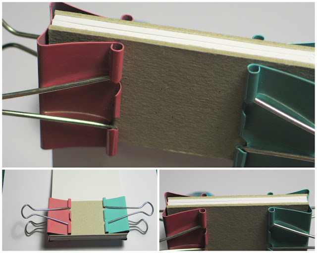holding the sheets together for gluing with binder clips size for your handmade notepad - tutorial