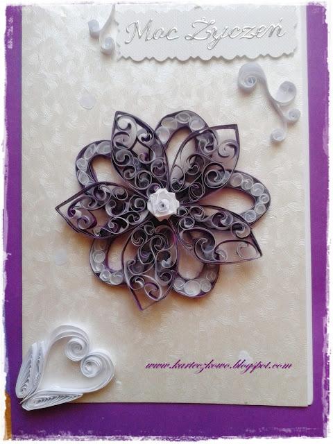 Kartka na imieniny - kwiat quilling