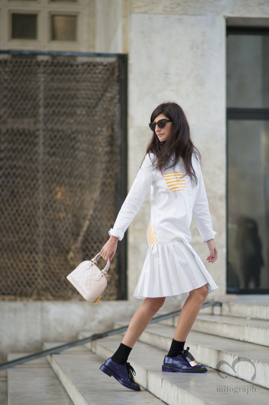 Blogger Valentina Siragusa wears Marni shoes and Louis Vuitton bag and AnnaK dress during Paris Fashion Week 2015 Spring Summer PFW